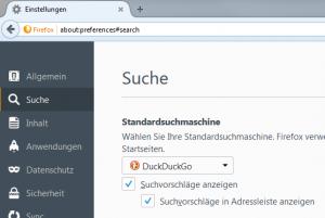 Firefox Einstellungen Suche
