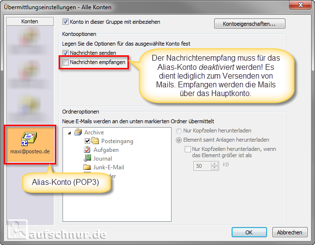 Outlook E-Mail-Alias Workaround
