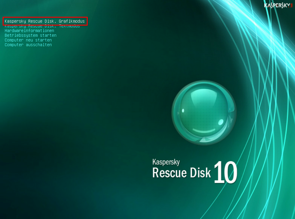 Kaspersky Rescue Disk - Startmenü