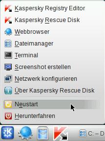 Kaspersky Rescue Disk - Neustart