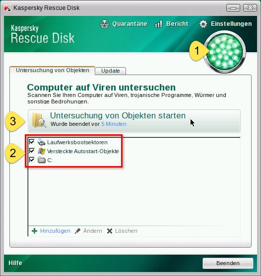 Kaspersky Rescue Disk - Suchlauf starten
