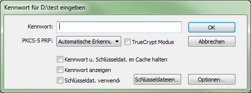 VeraCrypt 1.0f-2 Kennworteingabe