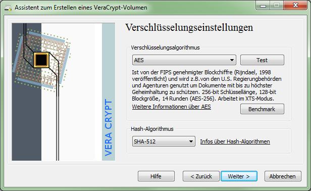 VeraCrypt 1.0f-2 Verschlüsselungseinstellungen