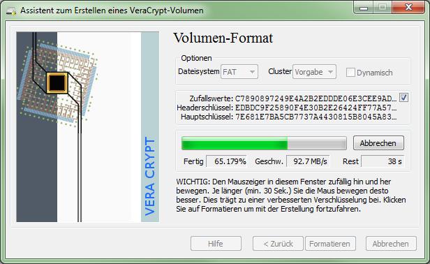 VeraCrypt 1.0f-2 Volumen-Formatierung