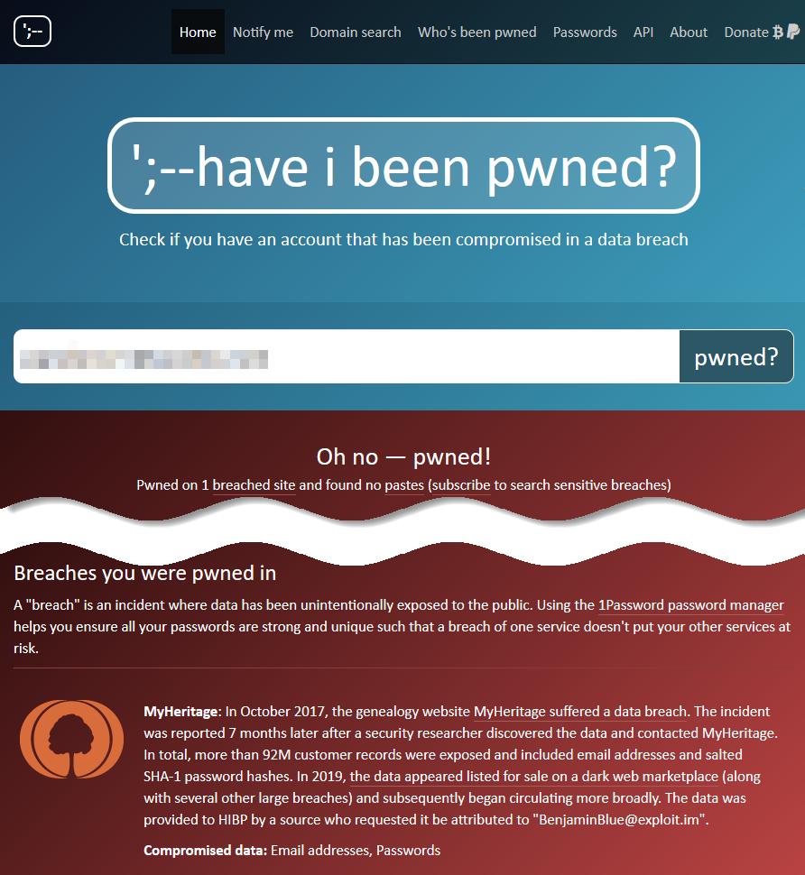 Website Have I Been Pwned